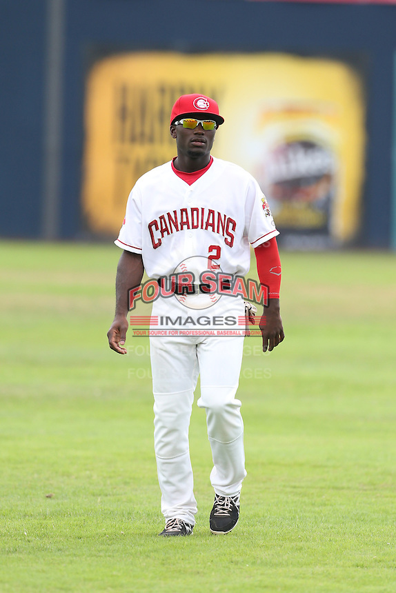 Roemon Fields #2 of the Vancouver Canadians during a game against the Hillsboro Hops at Nat Bailey Stadium on July 24, 2014 in Vancouver, British Columbia. Hillsboro defeated Vancouver, 7-3. (Larry Goren/Four Seam Images)