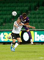 23rd May 2021; HBF Park, Perth, Western Australia, Australia; A League Football, Perth Glory versus Macarthur; Kosuke Ota of Perth Glory climbs all over Michael Ruhs of Macarthur FC to win the header