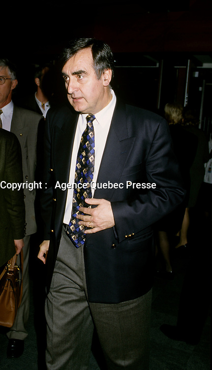 """Montreal (Qc) CANADA - File Photo - Dec 5th 1996 -<br /> <br /> Lucien Bouchard,  Leader Parti Quebecois (from Jan 29, 1996 to March 2, 2001). seen in a May 1996 file photo at ICAO (OACI) New headquarter opening in Montreal.<br /> <br /> After the Yes side lost the 1995 referendum, Parizeau resigned as Quebec premier. Bouchard resigned his seat in Parliament in 1996, and became the leader of the Parti Qu»b»cois and premier of Quebec.<br /> <br /> On the matter of sovereignty, while in office, he stated that no new referendum would be held, at least for the time being. A main concern of the Bouchard government, considered part of the necessary conditions gagnantes (""""winning conditions"""" for the feasibility of a new referendum on sovereignty), was economic recovery through the achievement of """"zero deficit"""". Long-term Keynesian policies resulting from the """"Quebec model"""", developed by both PQ governments in the past and the previous Liberal government had left a substantial deficit in the provincial budget.<br /> <br /> Bouchard retired from politics in 2001, and was replaced as Quebec premier by Bernard Landry."""