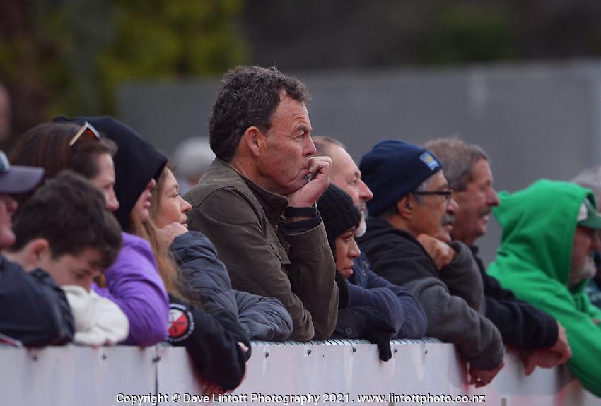 Fans watch the 2021 senior representative preseason rugby match between Wairarapa Bush and Hawkes Bay Saracens at Memorial Park in Masterton, New Zealand on Sunday, 7 June 2021. Photo: Dave Lintott / lintottphoto.co.nz