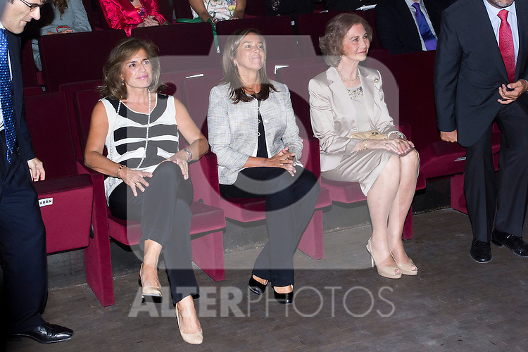20.09.2012. Queen Sofia of Spain, accompanied by the mayor of Madrid Ana Botella,  the Minister of Health, Social Services and Equality Ana Mato and the Foundation ONCE president, Miguel Carballeda, attend the inauguration of the IV Biennial of Contemporary Art Foundation ONCE, in the Conde Duque Cultural Centre in Madrid. In the image (L-R) Ana Botella, Ana Mato and Queen Sofia (Alterphotos/Marta Gonzalez)