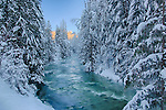 Idaho, North,   Sandpoint. Grouse Creek in the Cabinet Mountains of North Idaho in winter.