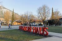 Konzertmuschel im Kurpark in Oberstdorf im Allgäu, Bayern, Deutschland<br /> Bandshell in spa-park of Oberstdorf,  Allgäu, Bavaria, Germany