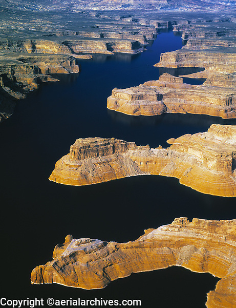 aerial photograph of Lake Powell, Arizona and Utah