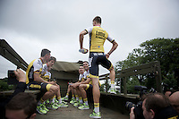 All fun show-off by Sep Vanmarcke (BEL/LottoNL-Jumbo) before the Grand Départ - Official Teams Presentation in the historic village of Sainte-Mère-Eglise<br /> <br /> 103rd Tour de France 2016