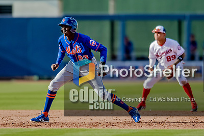 7 March 2019: New York Mets top prospect infielder Ronny Mauricio pinch running during a Spring Training Game against the Washington Nationals at the Ballpark of the Palm Beaches in West Palm Beach, Florida. The Nationals defeated the visiting Mets 6-4 in Grapefruit League, pre-season play. Mandatory Credit: Ed Wolfstein Photo *** RAW (NEF) Image File Available ***