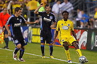 27 MAY 2009: #11 Bobby Convey of the San Jose Earthquakes, #2 Eric Denton of the San Jose Earthquakes and #17 Emmanuel Ekpo, Columbus Crew mid fielder in action during the San Jose Earthquakes at Columbus Crew MLS game in Columbus, Ohio on May 27, 2009. The Columbus Crew defeated San Jose 2-1