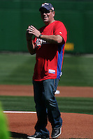 March 4, 2010:  Golfer John Daly throws out a first pitch before a Philadelphia Phillies Spring Training game at Bright House Field in Clearwater, FL.  Photo By Mike Janes/Four Seam Images