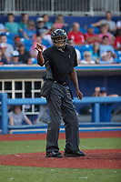 Home plate umpire Calvin Baker makes a strike call during the Atlantic League game between the Southern Maryland Blue Crabs and the High Point Rockers at Truist Point on June 18, 2021, in High Point, North Carolina. (Brian Westerholt/Four Seam Images)