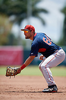 GCL Red Sox first baseman Dominic D'Alessandro (64) during a Gulf Coast League game against the GCL Orioles on July 29, 2019 at Ed Smith Stadium in Sarasota, Florida.  GCL Red Sox defeated the GCL Pirates 9-1.  (Mike Janes/Four Seam Images)