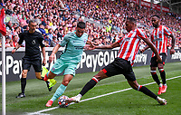 11th September 2021; Brentford Community Stadium, London, England;  Premier League football, Brentford versus Brighton Athletic; Neal Maupay of Brighton competes for the ball with Ethan Pinnock of Brentford