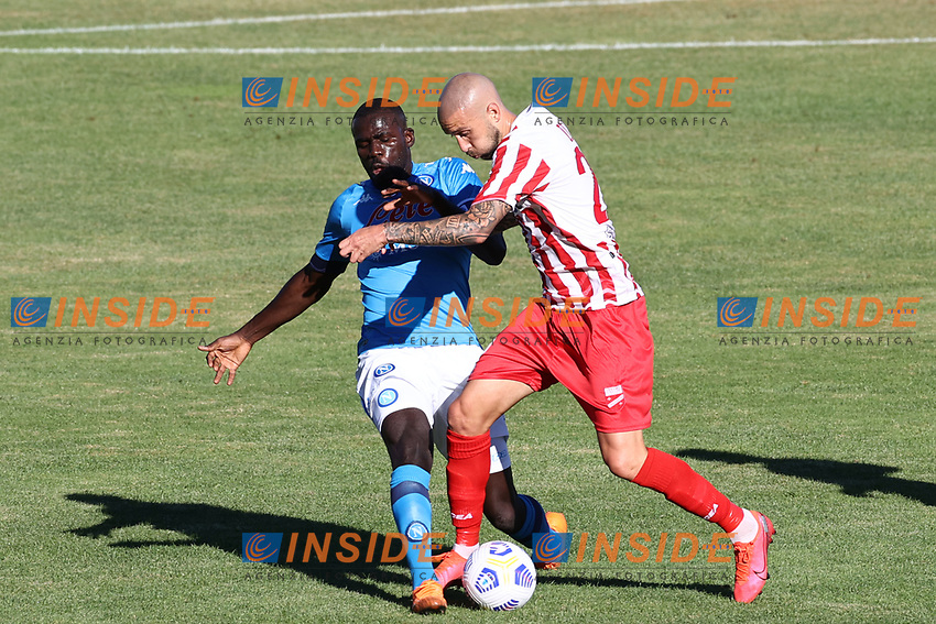 Kalidou Koulibaly of SSC Napoli compete for the ball<br /> during the friendly football match between SSC Napoli and SS Teramo Calcio 1913 at stadio Patini in Castel di Sangro, Italy, September 04, 2020. <br /> Photo Cesare Purini / Insidefoto