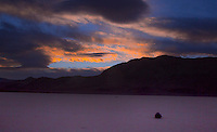 The sun sets on Racetrack Playa at Death Valley National Park, California