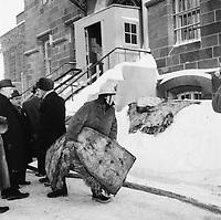 Incendie et tentative d'evasion de detenus a la prison d'Orsainville en banlieue de  Quebec le 25 fevrier 1963 <br /> <br /> PHOTO : Agence Quebec Presse