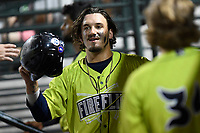 Left fielder Jay Jabs (7) of the Columbia Fireflies is greeted after scoring a run in a game against the Rome Braves on Sunday, August 20, 2017, at Spirit Communications Park in Columbia, South Carolina. Rome won, 11-6 in 16 innings. (Tom Priddy/Four Seam Images)