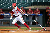 Josh McLain (15) of the North Carolina State Wolfpack starts down the first base line against the Boston College Eagles in Game Two of the 2017 ACC Baseball Championship at Louisville Slugger Field on May 23, 2017 in Louisville, Kentucky. The Wolfpack defeated the Eagles 6-1. (Brian Westerholt/Four Seam Images)