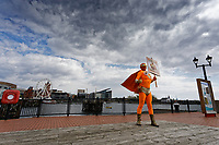 Pictured: Captain Beany in Cardiff Bay, Wales, UK.<br /> Re: Cardiff West independent candidate, Captain Beany where the current elected AM is First Minister for Wales Mark Drakeford, has been canvassing in Cardiff, Wales, UK.<br /> If elected, my first priority shall be renaming the Wales Parliament to that of 'Superhero Space Centre Of Excellence' and I shall dismiss all the existing serving MSs and replace them all with our League of Superheroes' to take up various positions in relation to their superhero powers within the next five years and to advocate an annual 'National Superhero Day' on behalf of the nation at the Principality Stadium in Cardiff for a national registered charity.