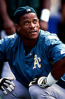 Ricky Henderson of the Oakland Athletics participates in a Major League Baseball game at Dodger Stadium during the 1998 season in Los Angeles, California. (Larry Goren/Four Seam Images)