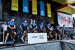 NTT Pro Cycling Team at the Team Presentation before the start of Stage 1 of Criterium du Dauphine 2020, running 218.5km from Clermont-Ferrand to Saint-Christo-en-Jarez, France. 12th August 2020.<br /> Picture: ASO/Alex Broadway | Cyclefile<br /> All photos usage must carry mandatory copyright credit (© Cyclefile | ASO/Alex Broadway)