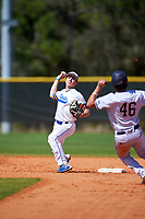 South Dakota State Jackrabbits second baseman Luke Ira (1) throws to first base as Juan Teixeira (46) slides in during a game against the FIU Panthers on February 23, 2019 at North Charlotte Regional Park in Port Charlotte, Florida.  South Dakota State defeated FIU 4-3.  (Mike Janes/Four Seam Images)