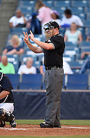 Home plate umpire Derek Ivinski during a game between the Daytona Tortugas and Tampa Yankees on April 24, 2015 at George M. Steinbrenner Field in Tampa, Florida.  Tampa defeated Daytona 12-7.  (Mike Janes/Four Seam Images)