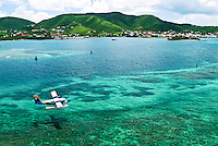 Seaborne Airlines seaplane on approach to Christiansted ST Croix, US Virgin Islands