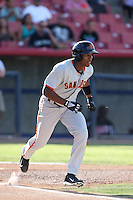Daniel Carbonell #1 of the San Jose Giants runs to first base during a game against the High Desert Mavericks at Heritage Field on August 31, 2014 in Adelanto, California. High Desert defeated San Jose, 9-6. (Larry Goren/Four Seam Images)