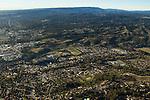 Urban sprawl encroaching on coniferous forest, Santa Cruz, Monterey Bay, California