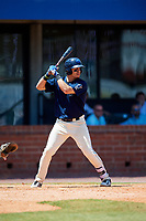 Mobile BayBears shortstop Angel Rosa (14) at bat during a game against the Pensacola Blue Wahoos on April 26, 2017 at Hank Aaron Stadium in Mobile, Alabama.  Pensacola defeated Mobile 5-3.  (Mike Janes/Four Seam Images)