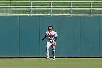 Peoria Javelinas center fielder Cristian Pache (27), of the Atlanta Braves organization, prepares to catch a fly ball during an Arizona Fall League game against the Surprise Saguaros at Surprise Stadium on October 17, 2018 in Surprise, Arizona. (Zachary Lucy/Four Seam Images)