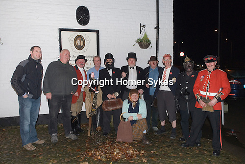 Antrobus Soul Caking Play. Antrobus Cheshire Uk. The cast and drivers outside The Smoker, Plumley, Knutsford, Cheshire. 2012.