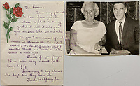 BNPS.co.uk (01202 558833)<br /> Pic: OmegaAuctions/BNPS<br /> <br /> Pictured: Louise Harrison enclosed a picture of herself and Harold Hargreaves Harrison in a letter to super fan Lorraine O'Malley<br /> <br /> A collection of letters George Harrison's mother wrote to a Beatles fan over a five-year period has emerged for sale.<br /> <br /> Louise Harrison wrote to super fan Lorraine O'Malley from August 1964 until her death in 1970, sharing notable events in the band and Harrison's life like the band getting MBEs and her son's marriage to Pattie Boyd.<br /> <br /> Mrs O'Malley, who started writing as a star-struck 16-year-old, kept the letters safely stored in a safety deposit box for the next 50 years.<br /> <br /> She has now decided to put the 55 letters up for sale with Omega Auctions, based in Merseyside, with an estimate of £6,000.