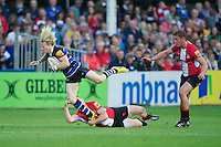 20120803 Copyright onEdition 2012©.Free for editorial use image, please credit: onEdition..Tom Biggs of Bath Rugby is tackled by Lolo Evans of London Welsh at The Recreation Ground, Bath in the Final round of The J.P. Morgan Asset Management Premiership Rugby 7s Series...The J.P. Morgan Asset Management Premiership Rugby 7s Series kicked off again for the third season on Friday 13th July at The Stoop, Twickenham with Pool B being played at Edgeley Park, Stockport on Friday, 20th July, Pool C at Kingsholm Gloucester on Thursday, 26th July and the Final being played at The Recreation Ground, Bath on Friday 3rd August. The innovative tournament, which involves all 12 Premiership Rugby clubs, offers a fantastic platform for some of the country's finest young athletes to be exposed to the excitement, pressures and skills required to compete at an elite level...The 12 Premiership Rugby clubs are divided into three groups for the tournament, with the winner and runner up of each regional event going through to the Final. There are six games each evening, with each match consisting of two 7 minute halves with a 2 minute break at half time...For additional images please go to: http://www.w-w-i.com/jp_morgan_premiership_sevens/..For press contacts contact: Beth Begg at brandRapport on D: +44 (0)20 7932 5813 M: +44 (0)7900 88231 E: BBegg@brand-rapport.com..If you require a higher resolution image or you have any other onEdition photographic enquiries, please contact onEdition on 0845 900 2 900 or email info@onEdition.com.This image is copyright the onEdition 2012©..This image has been supplied by onEdition and must be credited onEdition. The author is asserting his full Moral rights in relation to the publication of this image. Rights for onward transmission of any image or file is not granted or implied. Changing or deleting Copyright information is illegal as specified in the Copyright, Design and Patents Act 1988. If you are in any way unsure of your right to publish this i