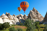 Hot Air Baloons over the Love Valley  at sunrise, Cappadocia Turkey