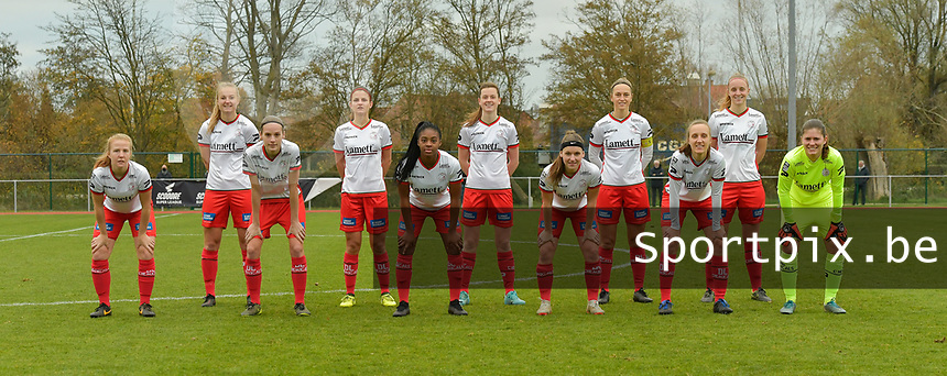 team of Zulte Waregem with Zulte Waregem's midfielder Julie Devos  -  Zulte Waregem's forward Corina Luijks  -  Zulte Waregem's defender Sheryl Merchiers  -  Zulte Waregem's midfielder Amber De Priester  -  Zulte Waregem's forward Esther Buabadi  -  Zulte Waregem's midfielder Amber De Priester  -  Zulte Waregem's defender Liesa Capiau  -  Zulte Waregem's defender Pauline Windels  -  Zulte Waregem's defender Ella Vierendeels  -  Zulte Waregem's midfielder Lotte De Wilde  -  Zulte Waregem's Jana Van Den Berghe  defender Sterre Gielen   pictured during a female soccer game between SV Zulte - Waregem and KRC Genk on the 8 th matchday of the 2020 - 2021 season of Belgian Scooore Women s SuperLeague , saturday 21 th of November 2020  in Zulte , Belgium . PHOTO SPORTPIX.BE | SPP | DIRK VUYLSTEKE