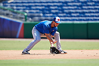 Toronto Blue Jays first baseman Jake Brodt (23) fields a ground ball during a Florida Instructional League game against the Philadelphia Phillies on September 24, 2018 at Spectrum Field in Clearwater, Florida.  (Mike Janes/Four Seam Images)