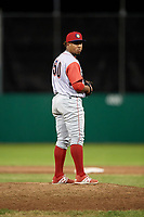 Williamsport Crosscutters relief pitcher Jose Jimenez (50) gets ready to deliver a pitch during a game against the Batavia Muckdogs on June 21, 2018 at Dwyer Stadium in Batavia, New York.  Batavia defeated Williamsport 6-5.  (Mike Janes/Four Seam Images)