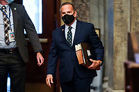 U.S. House impeachment manager Rep. David Cicilline (D-RI) arrives prior to the start of opening arguments in the impeachment trial of former U.S. President Donald Trump, on charges of inciting the deadly attack on the U.S. Capitol, in Washington, U.S., February 10, 2021. <br /> CAP/MPI/RS<br /> ©RS/MPI/Capital Pictures
