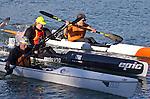 La Conner, Swinomish Channel, open water race, Sound Rowers Open Water Rowing and Paddling Club, Washington State, Pacific Northwest,  USA, RtoL: Kirk Christensen, Shane Martin, Shaun Sullivan