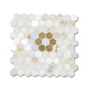 Flower Hex shown in polished Cloud Nine and Honey Onyx is part of New Ravenna's Studio Line of ready to ship mosaics.