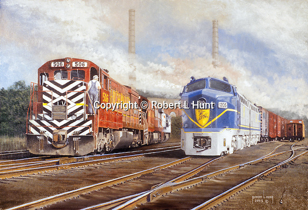 """Lehigh Valley Railroad diesel locomotives beside a freight train pulled by two Delaware and Hudson Sharks at Sayre, PA, circa 1960. Oil on canvas, 18' x 26""""."""