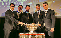 29-01-2014,Czech Republic, Ostrava, Cez Arena, Davis Cup, Czech Republic vs Netherlands, The Dutch team poses with The Davis Cup, l.t.r.: Jean-Julien Rojer, Thiemo de Bakker, Igor Sijsling, Robin Haase and captain Jan Siemerink<br /> Photo: Henk Koster