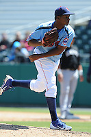 Tennessee Smokies pitcher Jeff Antigua #31 delivers a pitch during a game between the Jackson Generals and the Tennessee Smokies at Smokies Park, Kodak, Tennessee April 11, 2012. The Generals won 2-1  (Tony Farlow/Four Seam Images)..