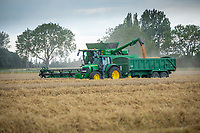 John Deere T670 combine harvesting wheat - Lincolnshire, August