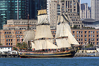 The tall ship Bounty sails along the  San Francisco waterfront as part of the 2008 San Francisco Festival of Sail. Built in 1960 for the MGM studios movie 'Mutiny on the Bounty' starring Marlon Brando the ship was constructed from the original ships drawings and built the same way as the original Bounty was 200 years earlier. Operated by the HMS Bounty Organization LLC the organization is dedicated to keeping the ship sailing and using her as a vehicle for teaching the nearly lost arts of square rigged sailing and seamanship. Photographed 07/08