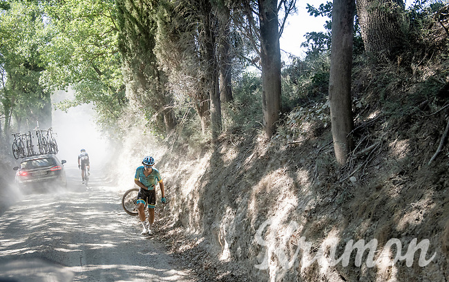crash by Manuele Boaro (ITA/Astana)<br /> <br /> 14th Strade Bianche 2020<br /> Siena > Siena: 184km (ITALY)<br /> <br /> delayed 2020 (summer!) edition because of the Covid19 pandemic > 1st post-Covid19 World Tour race after all races worldwide were cancelled in march 2020 by the UCI