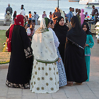 Stone Town, Zanzibar, Tanzania.  Forodhani Gardens Zanzibari Women.