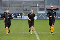 referee Viki De Cremer (M) with assistant referees Lieboud Van Den Broeck (L) and Beau van Vaerenbergh (R) pictured during the warming up of a female soccer game between Eendracht Aalst and AA Gent Ladies on the 10 th matchday of the 2020 - 2021 season of Belgian Scooore Womens Super League , Saturday 19 th of December 2020  in Aalst , Belgium . PHOTO SPORTPIX.BE | SPP | DIRK VUYLSTEKE
