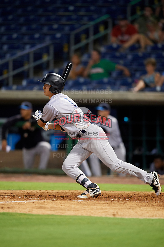 Tampa Tarpons second baseman Hoy Jun Park (1) follows through on a swing during a game against the Clearwater Threshers on July 31, 2018 at Spectrum Field in Clearwater, Florida.  Clearwater defeated Tampa 4-2.  (Mike Janes/Four Seam Images)