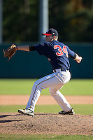 Trey Ramsey (34) of James Madison High School in Vienna, Virginia playing for the Atlanta Braves scout team at the South Atlantic Border Battle at Doak Field on November 2, 2014.  (Brian Westerholt/Four Seam Images)